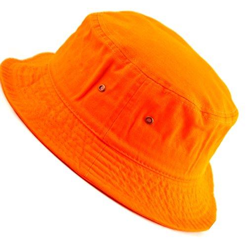 (E-Flag Mens 100% Cotton Fishing Hunting Summer Bucket Cap Hat (S/M, Orange))