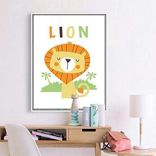 保育園の子供の寝室の装飾虎ライオン動物の壁アートキャンバスポスターとプリント絵画壁の写真リビングルーム-40×50センチ×3ピースフレームなし
