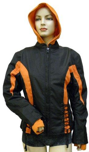 Ladies Textile Crystal Jacket Black & Orange + Hoodie