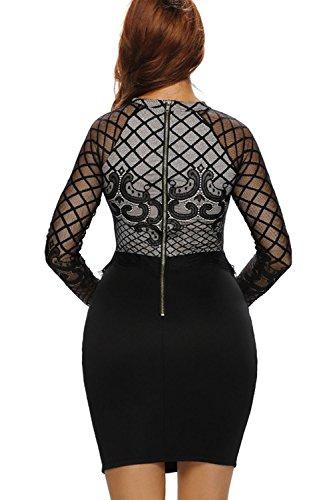 Yacun Frauen Langarm Lace Spleiß figurbetonten Kleid