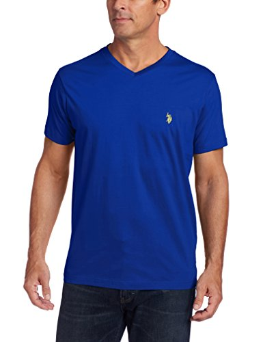 U.S. Polo Assn. Men's V-Neck Short Sleeve T-Shirt, Cobalt Blue/Yellow, Medium