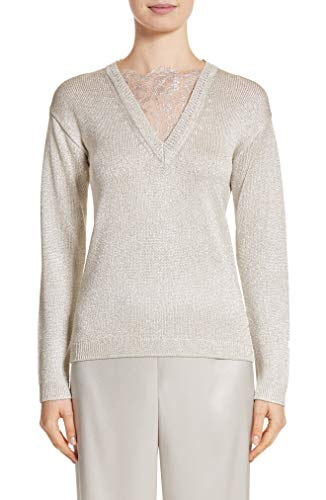 St. John Collection Metallic Jersey Knit Sweater in Soft Stone