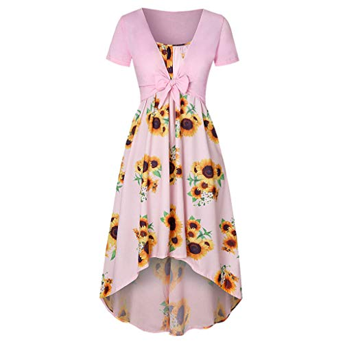 Dress for Women,SMALLE◕‿◕ Women Casual Summer Short Sleeve Bow Knot Cover Up Tops Sunflower Strap Midi Sun Dresses Pink (Bathroom Light Vela)