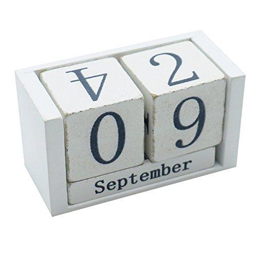 HUELE Wooden Perpetual Calendar Vintage Shabby Wooden Block Desktop Calendar