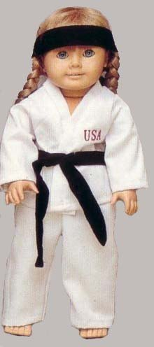 Taekwondo Costume For Kids (Martial Arts Outfit. Fits 18 Inch Dolls like American Girl.)