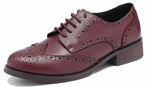 SimpleC Wingtip a Shoes 3modo Vintage Heel c Brogue mujeres Oxfords Low Office Las Borgo Leather perforaron tBqtxgrwZ