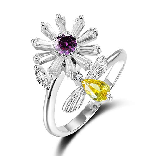 SKA Jewelry Daisy Flower Cute Bee Wedding Ring for Women Floral Purple CZ Blossoms Open Ring Adjustable Size 6-9 White Gold -