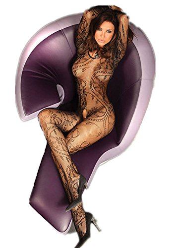 Rozegaga Womens Sexy Large Scale Swirl Pattern Crotchless Fishnet Bodystocking