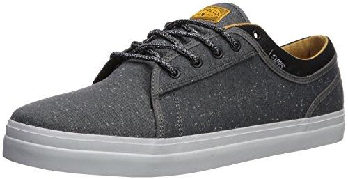 DVS Men's Aversa+ Skate Shoe, Charcoal Black/White Heathered Twill, 7.5 Medium US