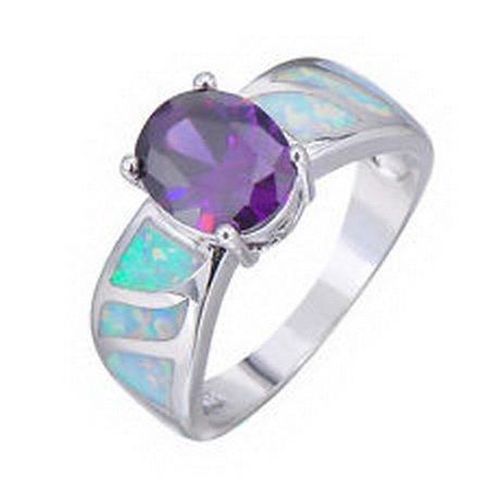 jacob alex ring White Fire Opal 925 Sterling Silver Wedding Ring Purple Lab Amethyst Women #10