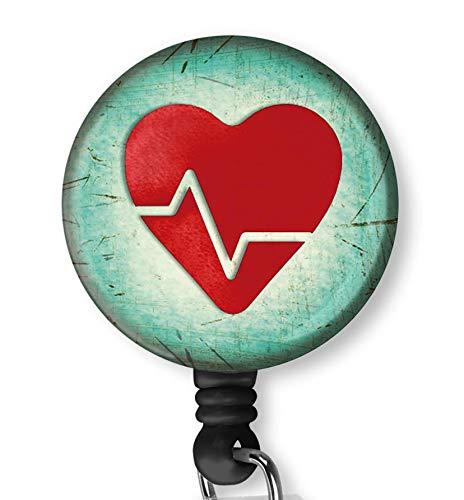 Heart Shape EKG Design Retractable ID Card Badge Holder with Alligator Clip Name Nurse Decorative Badge Reel Clip on Card Holders