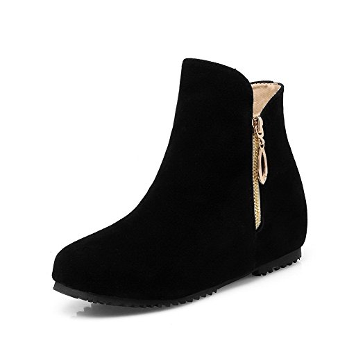 Round Toe Black Low Top Women's Boots Solid Closed Imitated Low Heels AgooLar Suede 5Fw6qO7