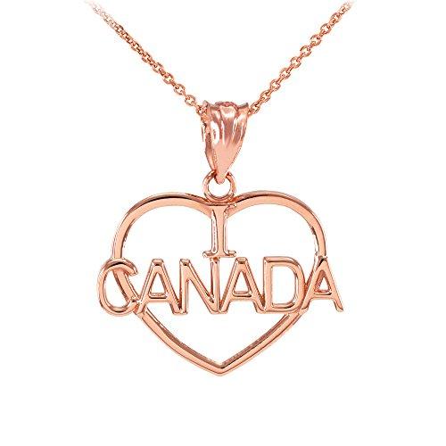 Collier Femme Pendentif 14 Ct Or Rose Ouvert Cœur Forme I Love Canada (Livré avec une 45cm Chaîne)