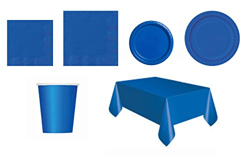 Solid Color Tableware Party Pack, Including; Plates, Cups, Napkins, Table Covers (Royal Blue)