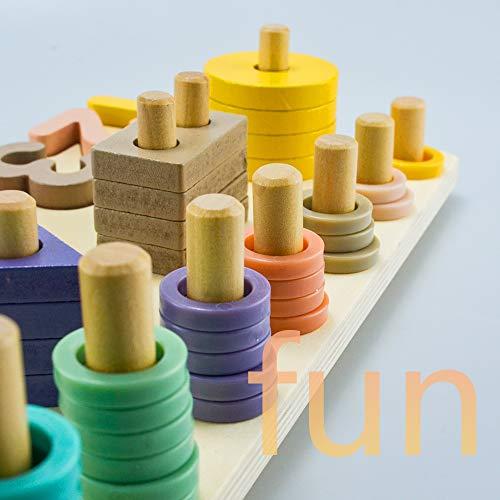 Finehaus Steckplatte Holz Holzpuzzles, Montessori Sortierspiel Holz Bildungs-Spielzeug Lernspielzeug Stecksymbole für Kleinkind Kinder Kleinkindspielzeug
