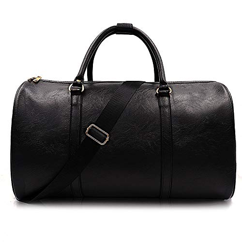 Weekend Travel Leather Bag Overnight Duffel Waterproof Bags Tote Carryon Luggage Gym Bag for Men&Women