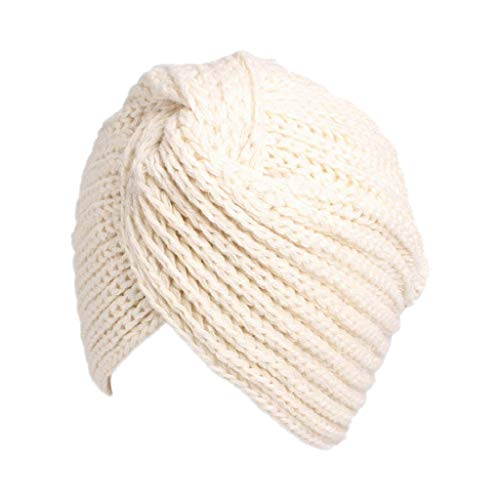 Cross Crochet (Sacow Knit Turban Hat, Women Solid Turban Soft Knit Headband Cross Twist Hair Wrap Hat Cap Beanie Crochet Headwrap (White))