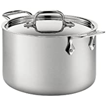 All-Clad BD552043 D5 Stainless Steel Brushed 5-Ply Bonded Dishwasher Safe Soup Pot with Lid Cookware, 4-Quart, Silver
