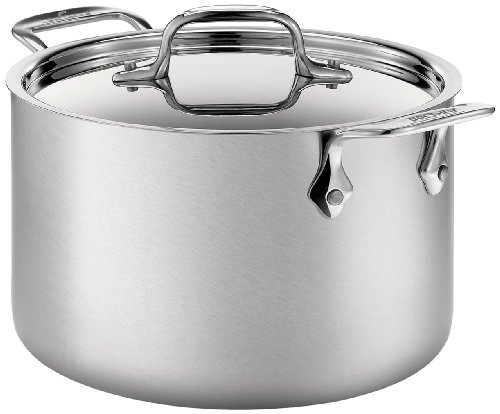 All-Clad BD552043 D5 Brushed 18/10 Stainless Steel 5-Ply Bonded Dishwasher Safe Soup Pot with Lid Cookware, 4-Quart, Silver ()