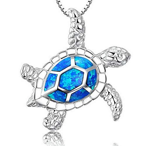 Werrox Silver Plated Blue Opal Sea Turtle Cutout Pendant Women Necklace Fashion Gift | Model NCKLCS - 22787 |