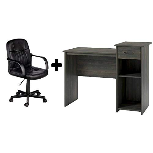 Student/Office Home Desk in Rodeo Oak + Leather Mid-Back Chair in Black - Bundle Set