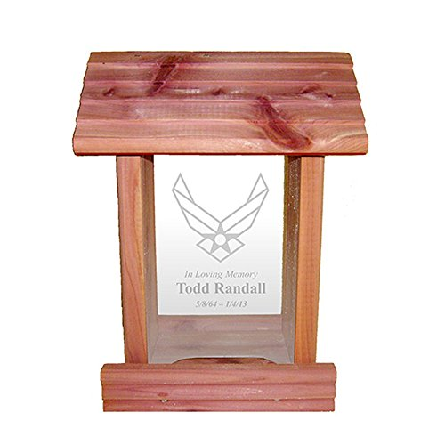 Urns Northwest Personalized Military & Emergency Services Memorial Bird Feeder Cedar Wood Sympathy Gift Made in USA with Custom Engraved in Loving Memory Inscription & Service Emblem (Air Force) ()