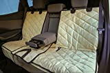 Plush Paws Custom Dog Seat Cover Center Console Access, Removable Hammock - Tan, Waterproof & Nonslip Silicone Backing for Cars, Trucks & Suv's