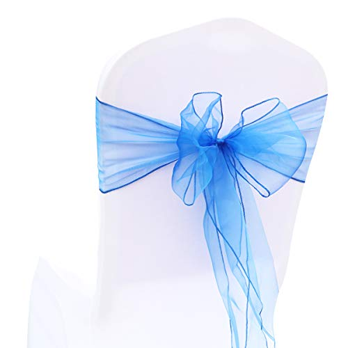 BIT.FLY 50 Pcs Organza Chair Sashes for Wedding Decoration Banquet Party Event Supplies Chair Bows Ties Chair Cover Bands - Royal Blue