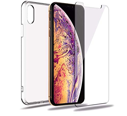 iPhone XR Case, iPhone XR Clear Case, (Free) iPhone XR Tempered Glass Screen Protector, iPhone 10R Case,Silicone Phone Case, TPU Transparent Case - Silicone Case Screen Protector