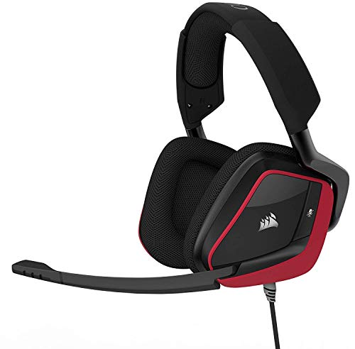(CORSAIR Void PRO Surround Gaming Headset - Dolby 7.1 Surround Sound Headphones for PC - Works with Xbox One, PS4, Nintendo Switch, iOS and Android - Red (Certified Refurbished))