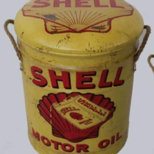 Vintage Retro Advertising Petrol Oil Fuel Mancave Man Cave Shed Garage Workshop Pub Kitchen Bar Gift Metal Stool or Storage Bin 36cm Shell