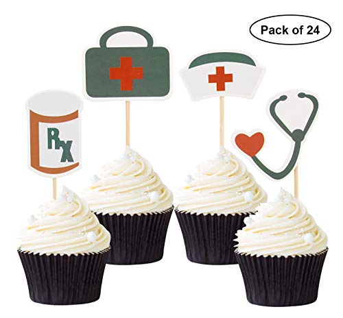 Pack of 24 Nursing Cupcake Toppers Nurse Graduation Cupcake Topper Medical Rn Themed Party Decorating Supplies ()