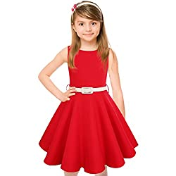 Hbbmagic Girl Dress,round Neck Polka Dots Swing Audrey 50's Vintage Party Dress For Girls (Girl's 7-8, Red)