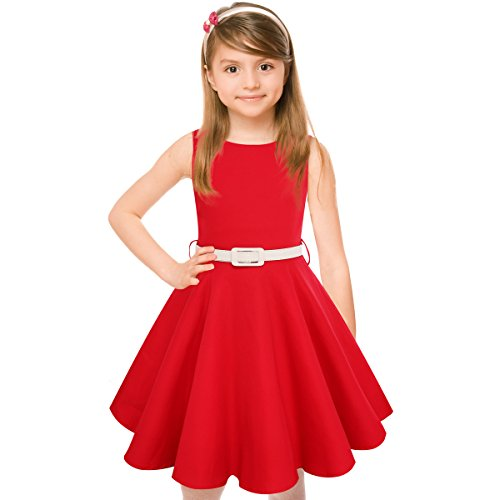 (Girls 50s Vintage Swing Rockabilly Retro Sleeveless Party Dress for Occasion Red)