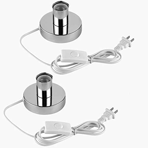 (2PACK) Polished Metal Desktop Lamp Base Ceramic Base Holder 6 ft Cord On/off Switch Plug E26/e27 Screw Base Ideal for CFL Germicidal Lamp,table lamp,Himalayan Salt Lamp Cords, (On-Off Switch) 41PR4-v3wmL