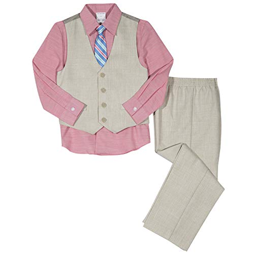 Van Heusen Baby Boys 4-Piece Patterned Dresswear Vest Set, Pink Flamingo 18M ()