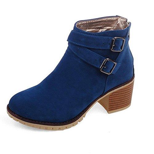 39 desgaste cinturón de blue Azul de Women Beige talón XIAOGANG HFour negro H goma matorral botas grueso antideslizante Seasons inferior hebilla cortas amarillo de vBqHvRgS
