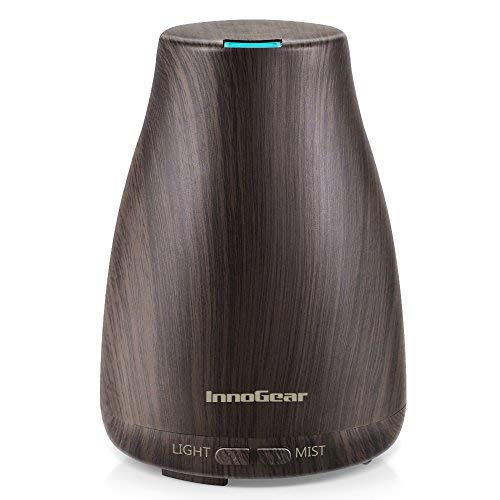 InnoGear Upgraded Wood Grain Aromatherapy Essential Oil Diffuser Ultrasonic Diffusers Cool Mist Humidifier with 7 Colors LED Lights and Waterless Auto Shut-off for Home Office ()