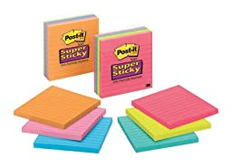 3m 675-3ssmx Assorted Neon Lined Post-It® Super Sticky Recycled Notes