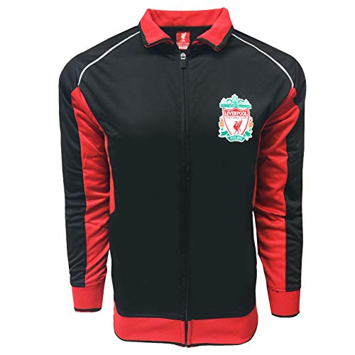 (Liverpool Football Club, for Kids and Adults, Official Soccer Retro Track Top Jacket (Youth Large 10 to 12 Years) Black)