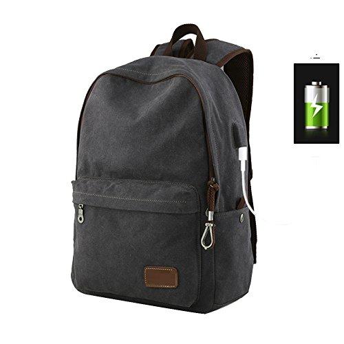 Sac Pour De à Ordinateur De Multifonctions USB Collège Portable Sac Chargement à Voyage Sac Sac Travail De Dos Black Dos Port Mode a8gwqtt