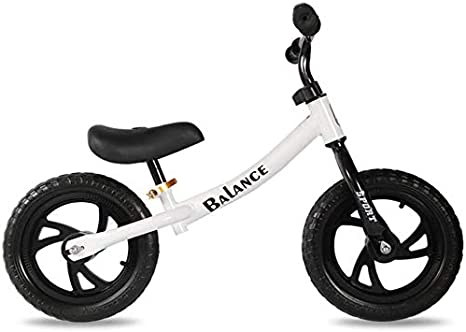 XIUYU Balance de Bicicletas, de 12 Pulgadas sin Pedales Ligera Niños Bici Primera Bicicleta for Niños Niña Niño De 3-8 años, no Inflable Espuma neumático con una Silla Ajustable Manillar-White