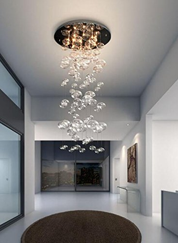 Siljoy Round Modern Bubble Glass Chandelier Lighting for Stairs Living Room Foyer Entryway Conference Room D23.6