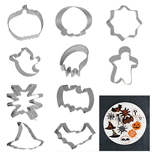 Halloween Cookie Cutters Set, 10 Different Shape Stainless Steel Pastry Biscuit Cutter Molds Kitchen Baking Accessories -