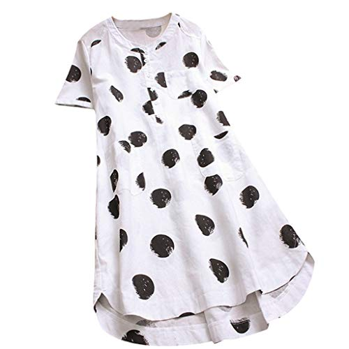 Aniywn Women's Polka Dot Layered Short Sleeve Tunic Tops Loose Button Long Shirt Tops Dress White