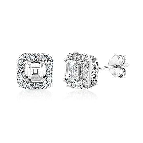 Mia Sarine Womens Cushion Shaped Cubic Zirconia Stud Earrings in Rhodium over Sterling Silver - Cushion Shaped Bead