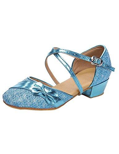 Eden Babe Girl's Strappy Tango Latin Dance Shoes(Little Kid 1.5M,Blue 32)