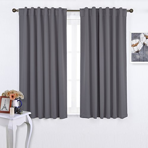 Nicetown Back Tab / Rod Pocket Blackout Curtains Window Panel Drapes - Grey 2 Panels Set-52x63 Inch, 7 Back Loops per Panel