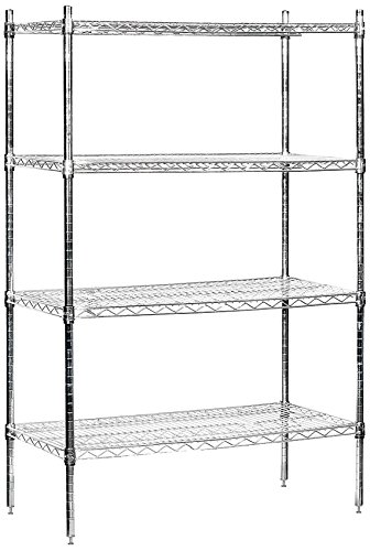 - Salsbury Industries Stationary Wire Shelving Unit, 36-Inch Wide by 63-Inch High by 18-Inch Deep, Chrome