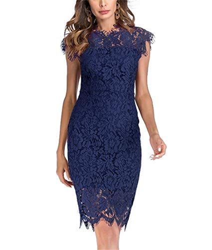 Slim Dress Sheath - Women's Sleeveless Floral Lace Slim Evening Cocktail Mini Dress for Party DM261 (S, Blue)